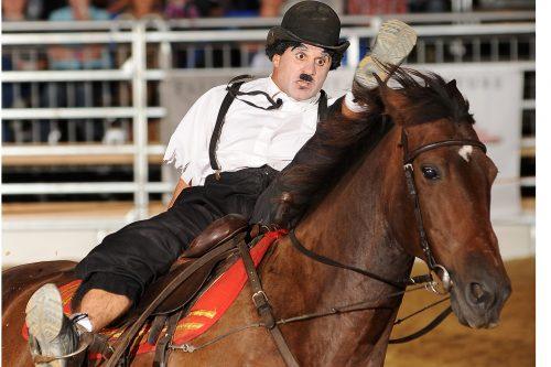 Show auf der AMERICANA Charly Chaplin auf Pferd