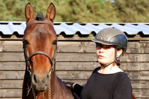 Frau hält Pferd an der Hand
